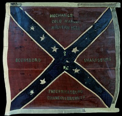 North Carolina Infantry Regiment Battle Flag  The 2nd North Carolina Volunteer Infantry regiment carried this battle flag.