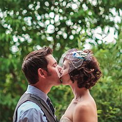 This adorable Colorado couple had a romantic, yet quirky, DIY wedding. Love her handmade birdcage vail and other sweet touches.