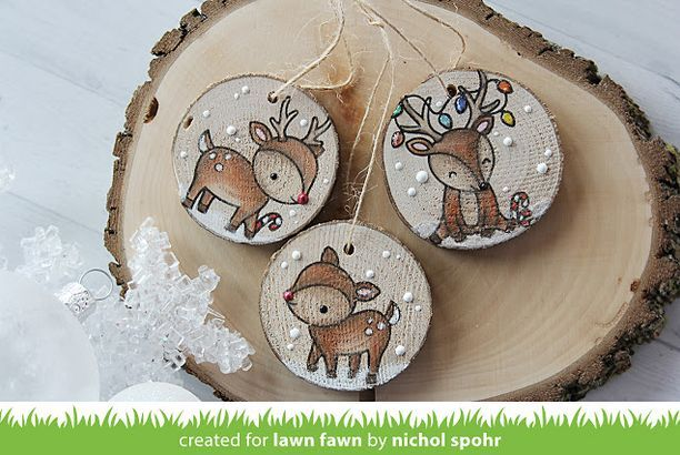 Lawn Fawn Video 11 30 17 Rustic Wooden Tags With Nichol The Lawn Fawn Blog Wood Christmas Ornaments Wooden Christmas Ornaments Wooden Christmas Decorations