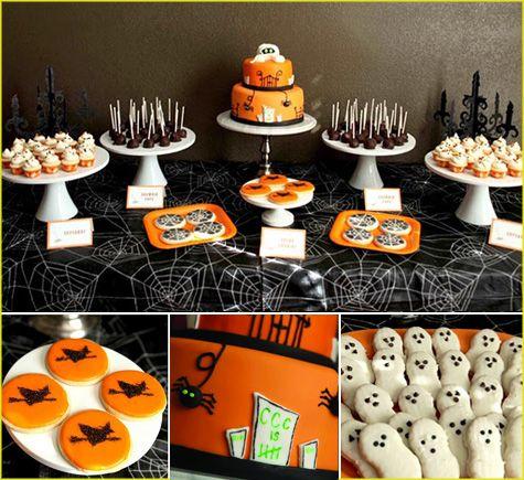 halloween dessert bar buffet tablescape tablesetting inspiration ideas - Halloween Buffet Food Ideas
