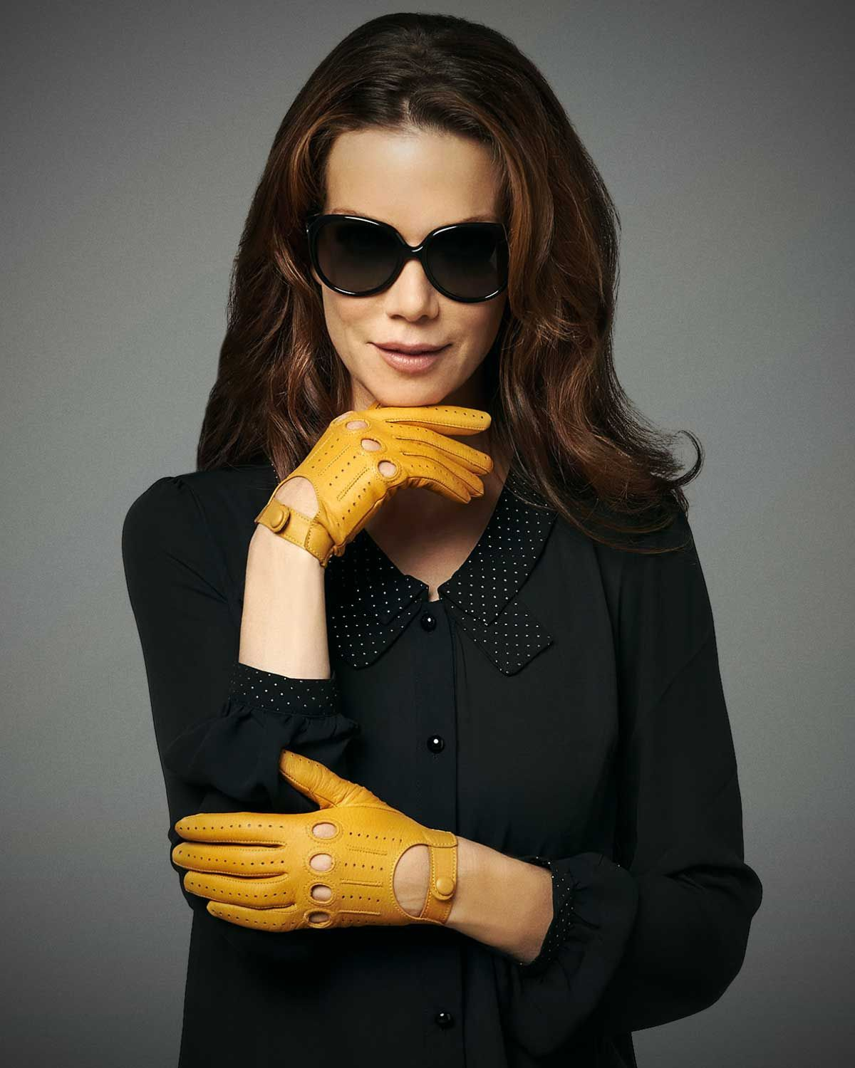 f61a58498 Women's Open Back Leather Driving Gloves By Fratelli Orsini Everyday ...