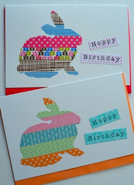 Washi tape card bunny rabbit   Dekorella Shop http://dekorellashop.hu/ #dekortapasz #washitape #maskingtape