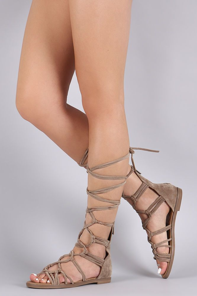 c63a11f8739b Beige Lace Up Tie Gladiator Flat Sandals Knee High Women s Roman Shoes   Breckelles  Gladiator  Casual