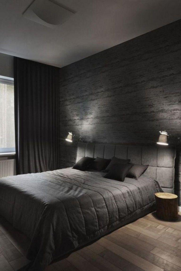 40 The Best Dark Grey Wall Paint Color Ideas For Your Bedroom Comfortable Bedroom Black Bedroom Decor Comfy Bedroom