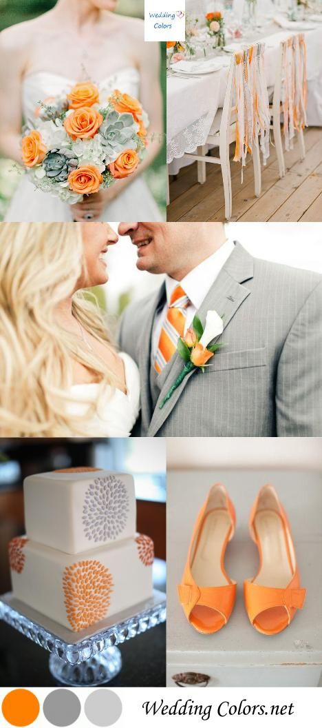 orange grey and cream wedding color inspiration pinterest silberhochzeit ideen f r die. Black Bedroom Furniture Sets. Home Design Ideas