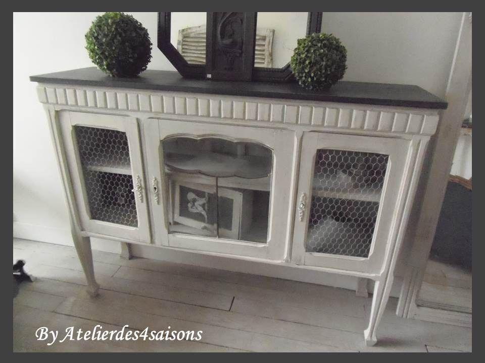 meuble tv buffet console grillag patin gris perle blanc poudr gris ardoise meubles et. Black Bedroom Furniture Sets. Home Design Ideas