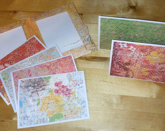 6 Beautiful Cards With Envelopes In A Handmade Storage Folder