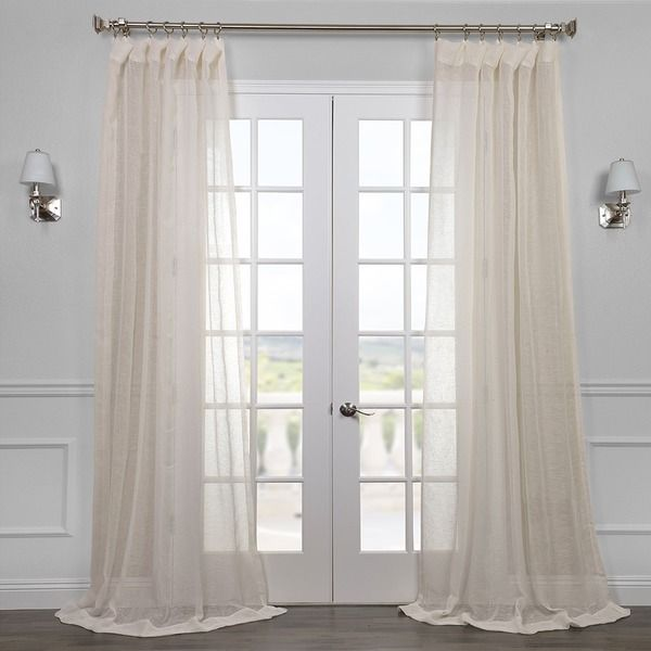 Exclusive Fabrics Linen Open Weave Cream Ivory Sheer Curtain Panel