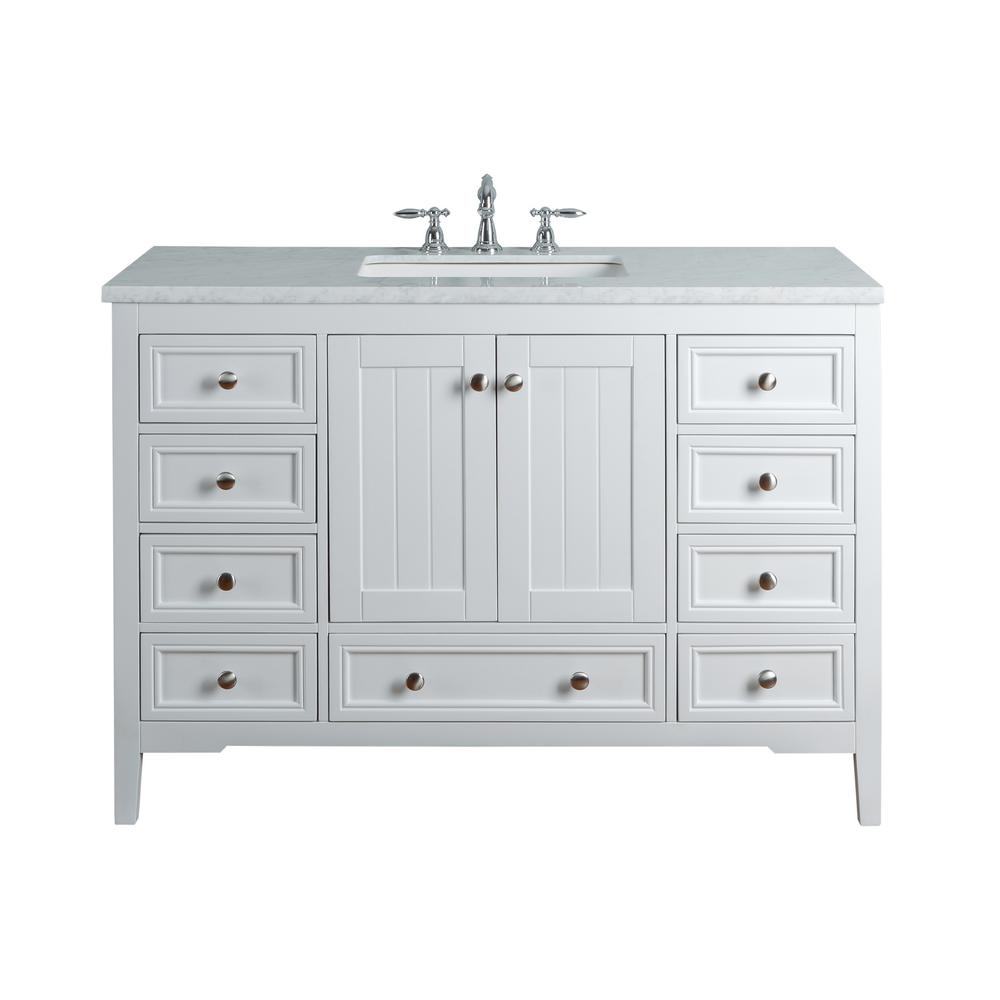 Stufurhome New Yorker 48 In White Single Sink Bathroom Vanity