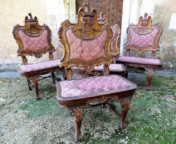 En Bois De Suite Sculptéorme Quatre 1 Larges Chaises OkX8nP0wZN