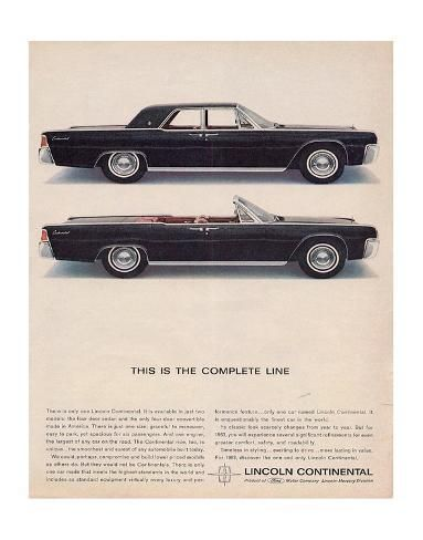 'Lincoln 1963 - Complete Line' Premium Giclee Print - | Art.com