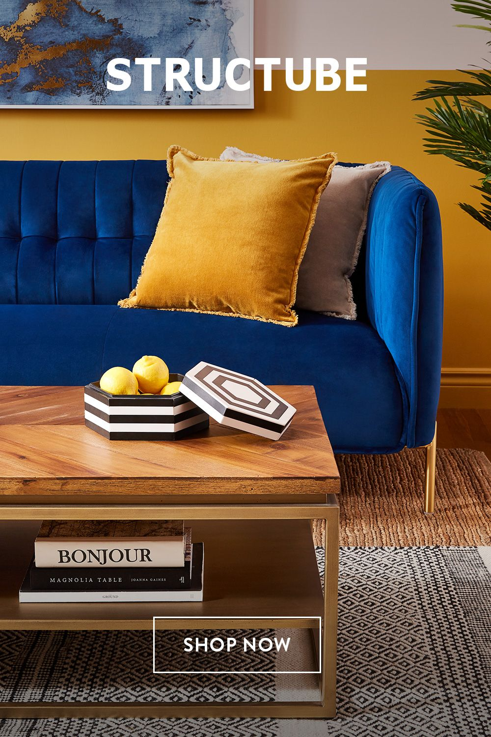 Pin By Ellen Cere On H O M E Blue And Yellow Living Room Blue Sofa Living Velvet Sofa Living Room