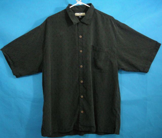7df659947fca Black Hawaiian Shirt Aloha Silk Casual Comfortable Tommy Bahama Mens L  Pocket  TommyBahama  Hawaiian