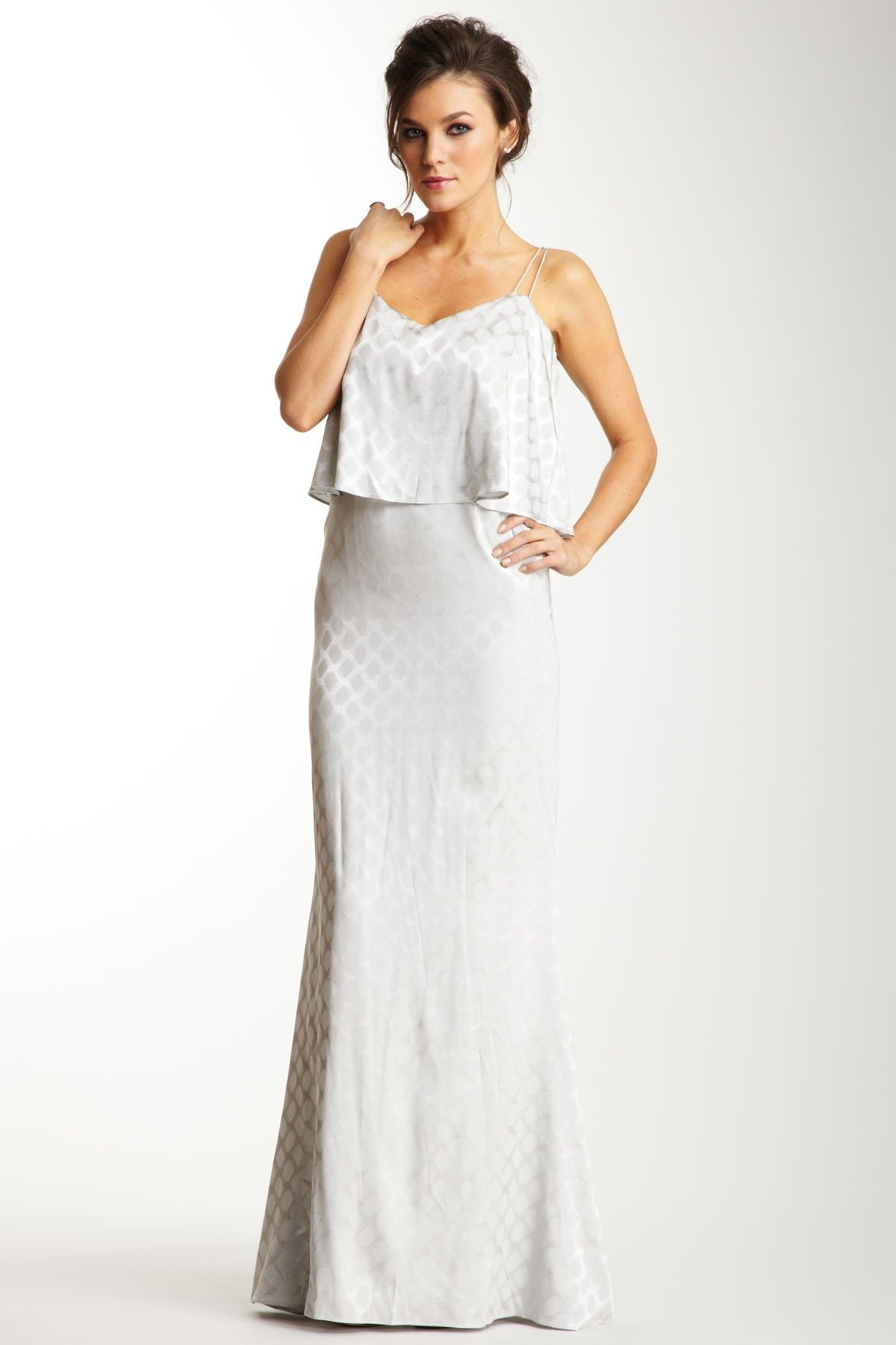 Halston tiered dress in white perfect for the reception wedding
