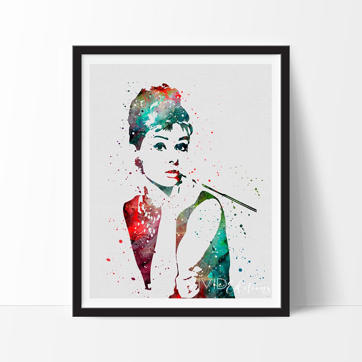 Audrey Hepburn, Breakfast at Tiffany's Watercolor Art ...