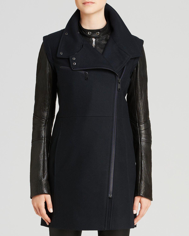 Andrew Marc Lara Leather Sleeve Coat | Bloomingdale's