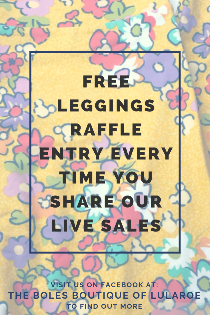 16e5603701d492 Free leggings raffle entry every time you share our live sales video on  your facebook page! Visit us at: www.TheBolesBoutique.com for more  information!