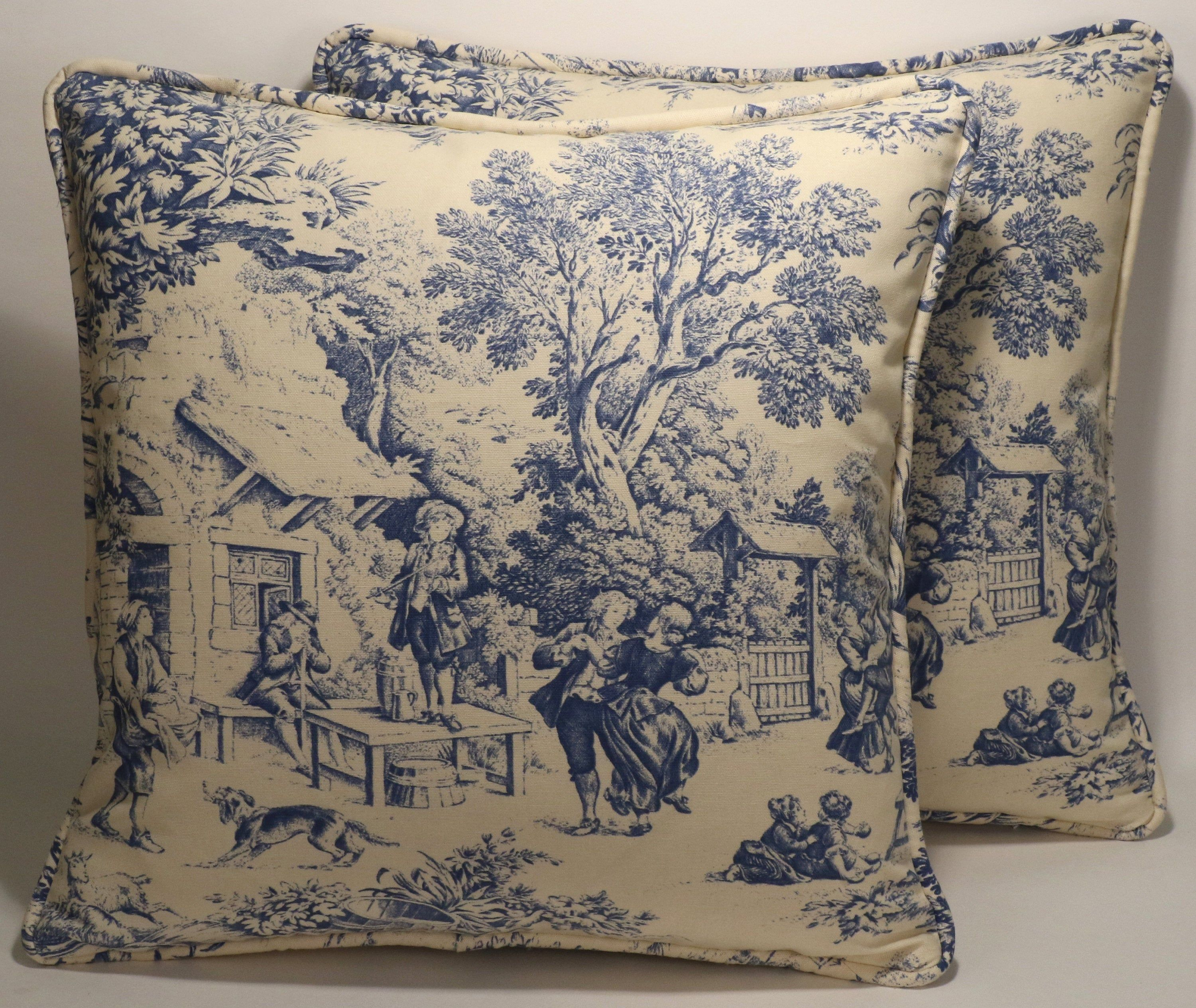 Pin On Country Toile Decorative Throw Pillows