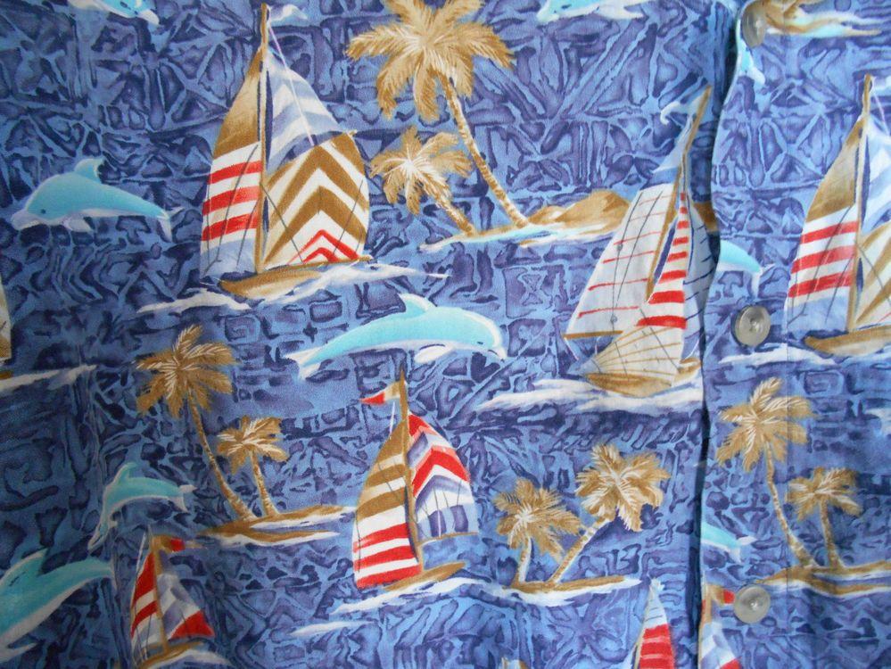 Campia Moda Hawaiian Camp Cruise Shirt Sail Boats Palm Trees Dolphins Mens XXL #CampiaModa #HawaiianButtonFront