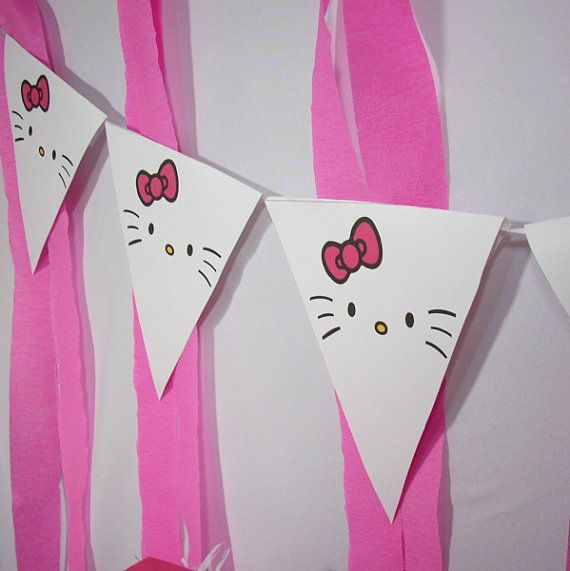 Hello Kitty Inspired Pennants Instant Download by sparksdecor Kids