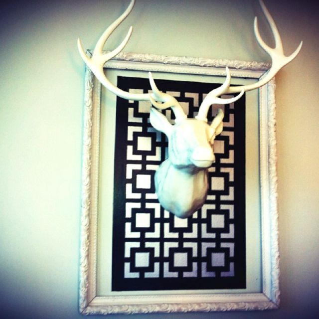 We made this deer from Z Gallerie a little more special by painting this pattern behind him and adding this vintage frame (originally gold) around him