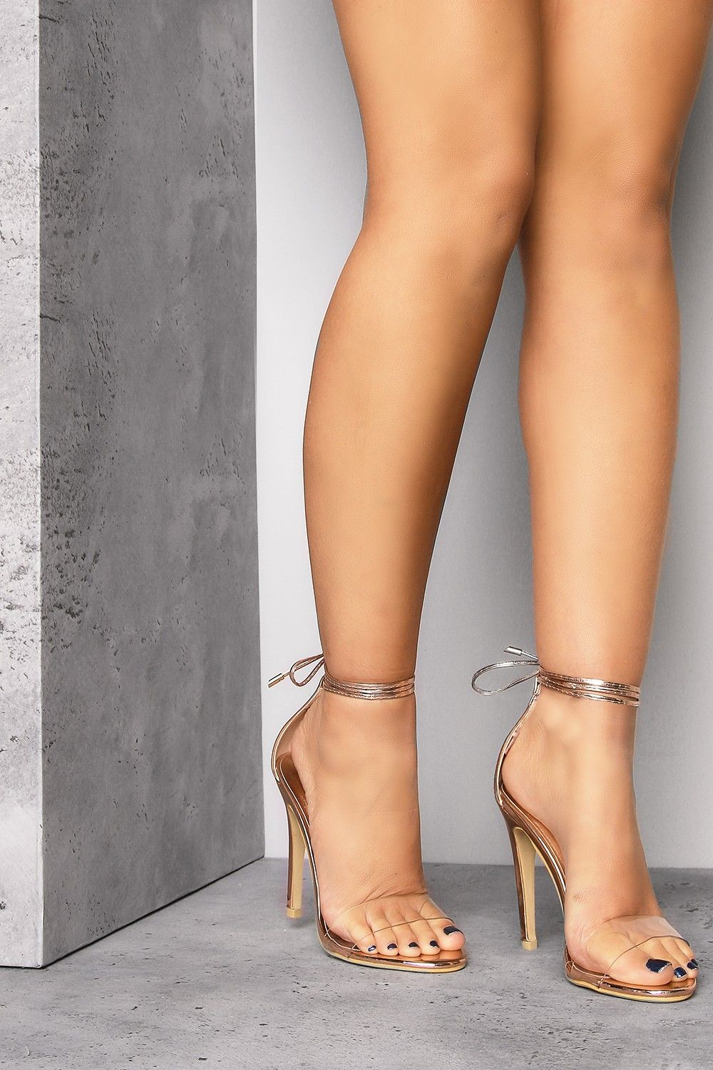 56c7aa5470d Clear The Way Perspex Strap Wrap Around Heels Rose Gold - Party And  Bullsh t