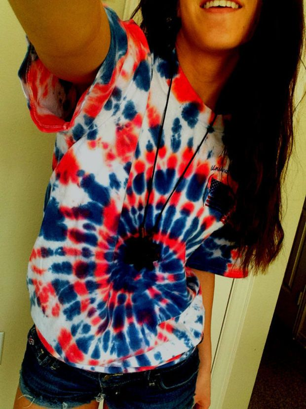 5e6b5d51f67 American Flag Red White and Blue Spiral Tie Dye T Shirt