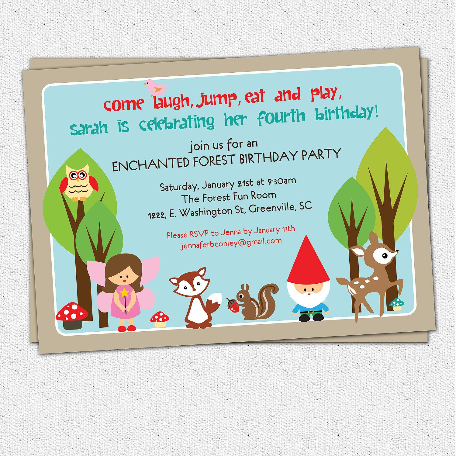 Printable Woodland Birthday Invitation Enchanted by OhCreativeOne ...