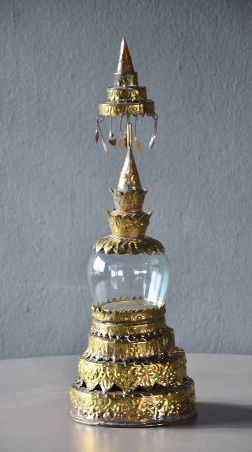Antique Shrine Stupa Glass Cloche Dome Amulet Store Display vintage stand chedi