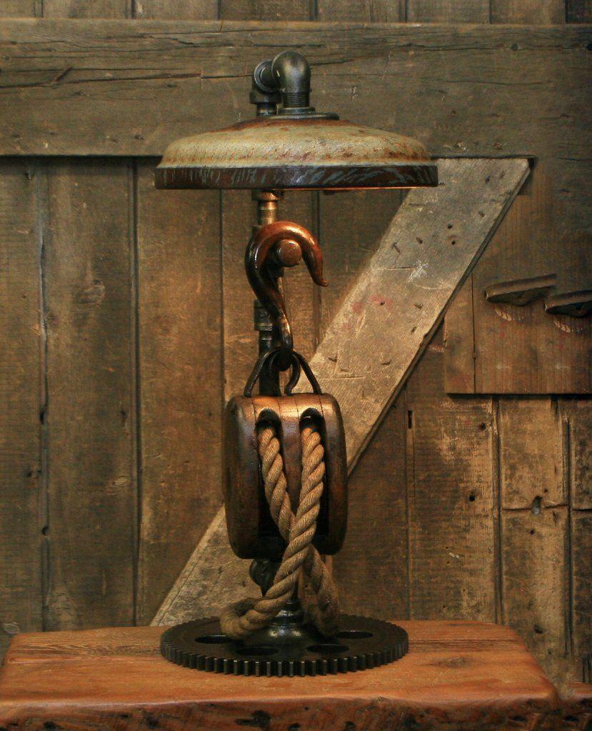Wood Block & Tackle Table Lamp