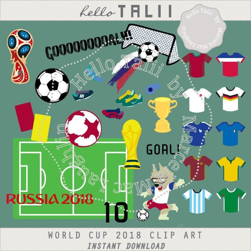 Soccer Clipart World Cup 2018 Digital Clip Art Russia 2018 Fifa S World Cup Football Pet Field Balls Trophys Cleats Champ Mascota Del Mundial Tarjeta Mascotas