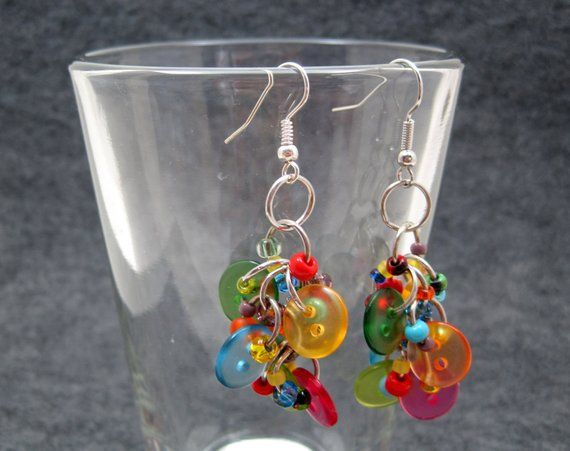 9df68919c8f56 Button Dangle Earrings - Bright Colorful Multicolored Rainbow by ...