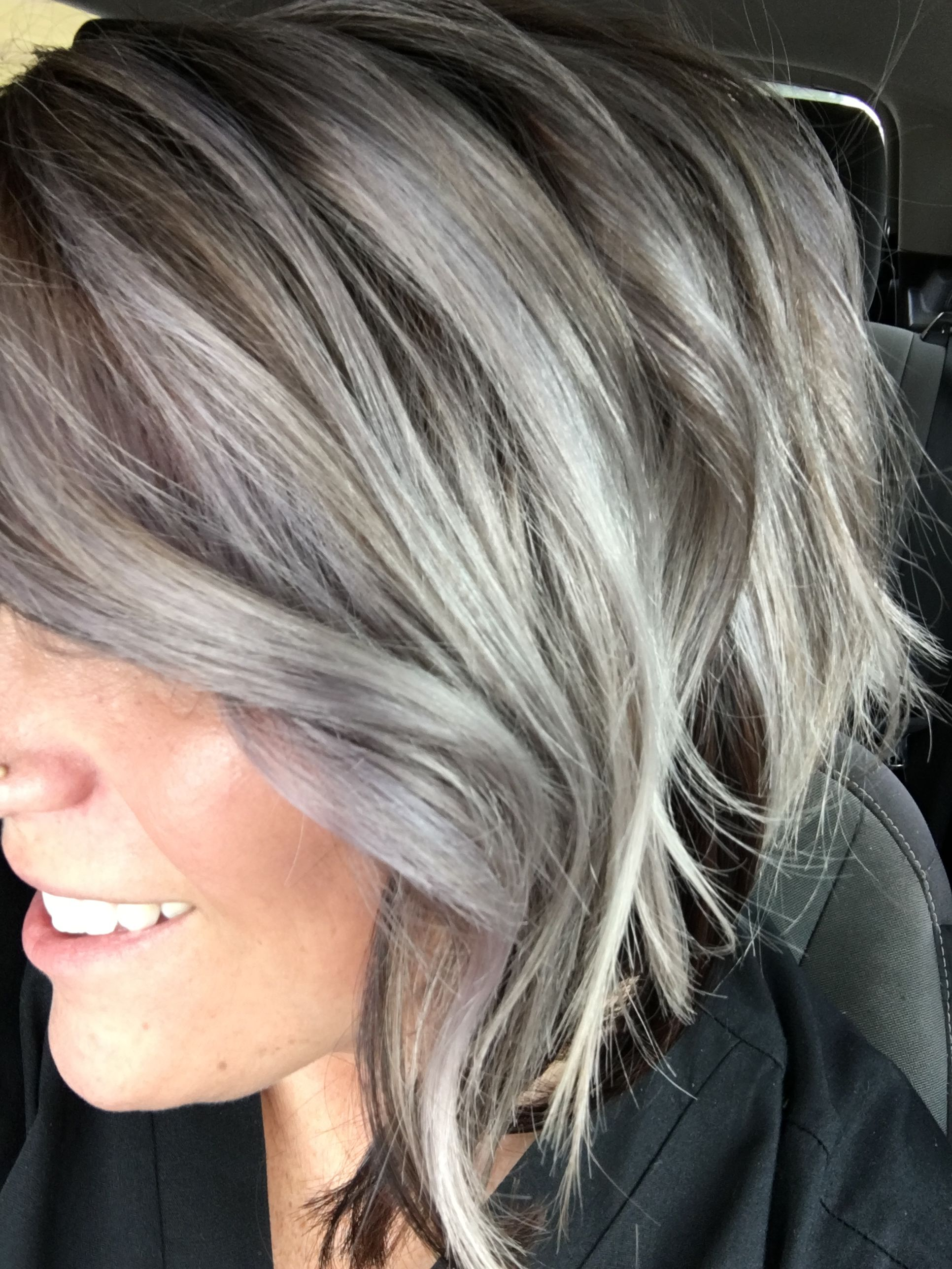 Silvery Ash With Dark Stretched Roots Love Goldwell Color