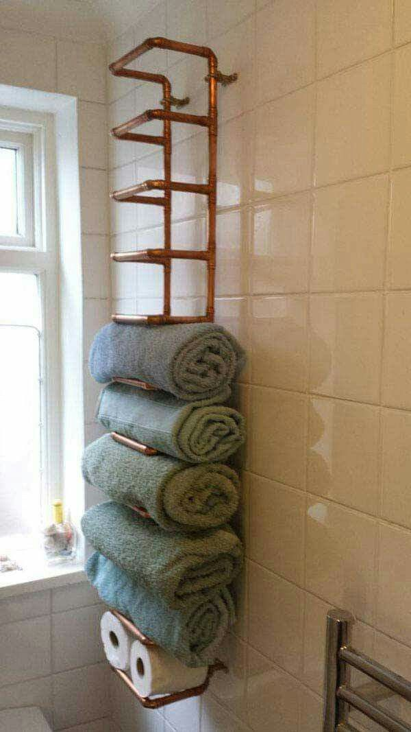 Hylde Med Vandrør  Industrial  Pinterest  Pipes Industrial And Adorable Towel Storage Ideas For Small Bathrooms 2018