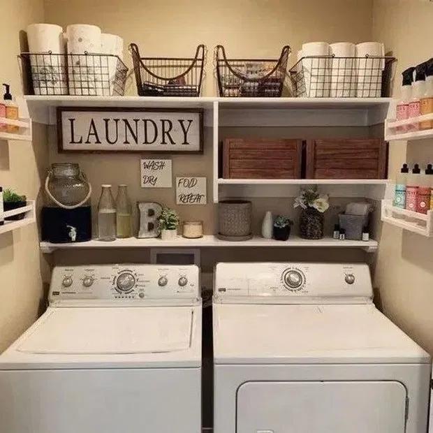 63 Smart Farmhouse Laundry Room Storage Organization Ideas 1 In