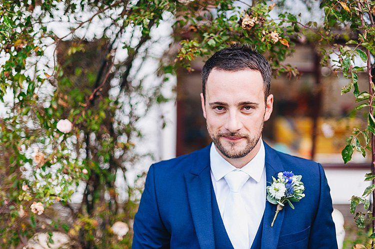Blue Suit Groom White Tie Pretty Blue Barn Wedding Sea South Wales http://www.agatomaszek.com/
