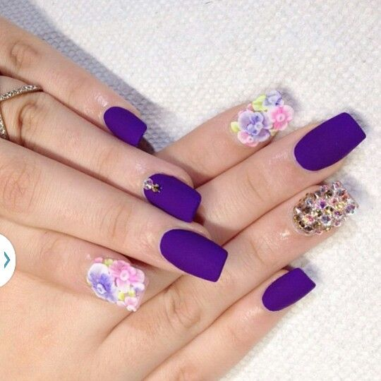 Image Via Flower Nail Image Image Via Flower Nail Designs Ideas 2015 Image  Via Pink Nails With Flower Art Image Via Purple Flowers   Nails Style Phot