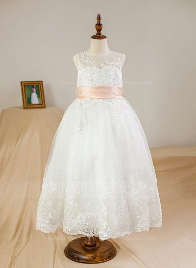 f4305b0a9 Ball Gown Scoop Neck Floor-length Sash Bow(s) Back Hole Satin Tulle Lace  Sleeveless Flower Girl Dress Flower Girl Dress