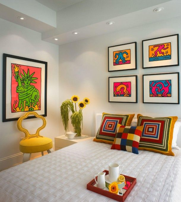 Retro Pop Art Paintings In Bedroom