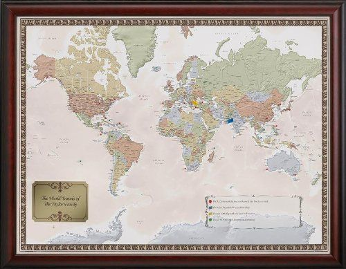 Personalized world travel map set by stone arch merchants http personalized world traveler map set framed with pins at signals gumiabroncs Image collections