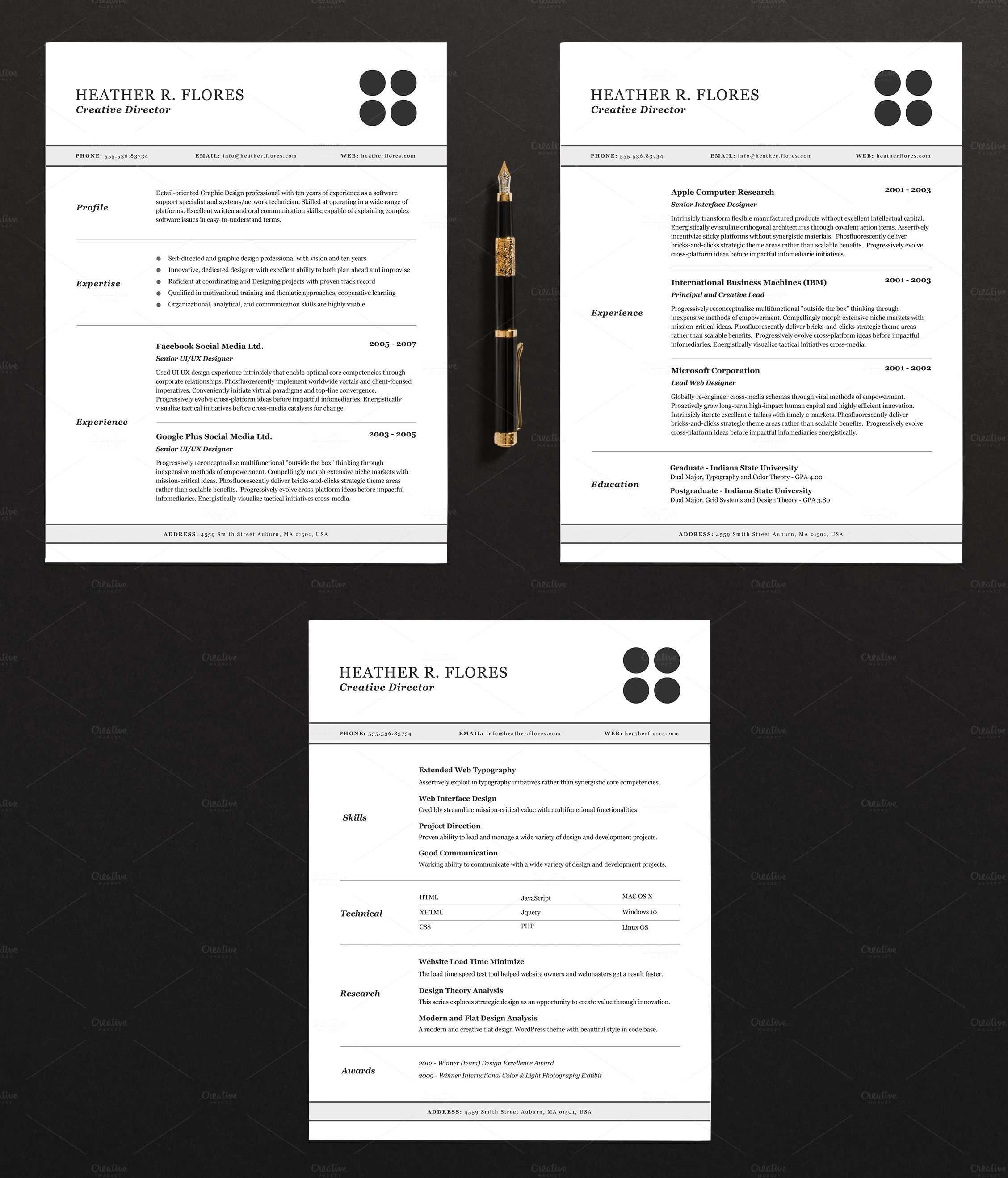 3 Page Resume Template Indd Docx With Images Resume Design
