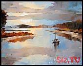 Abstrakte Landschaft Kunstdruckpapier • MILL CREEK SUNSET • Zeitgenössische Landschaft & Me …