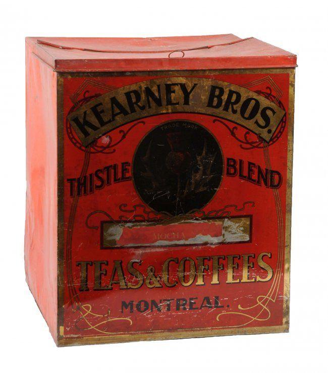 Kearney Bros. Teas & Coffees Tin Advertising Bin.