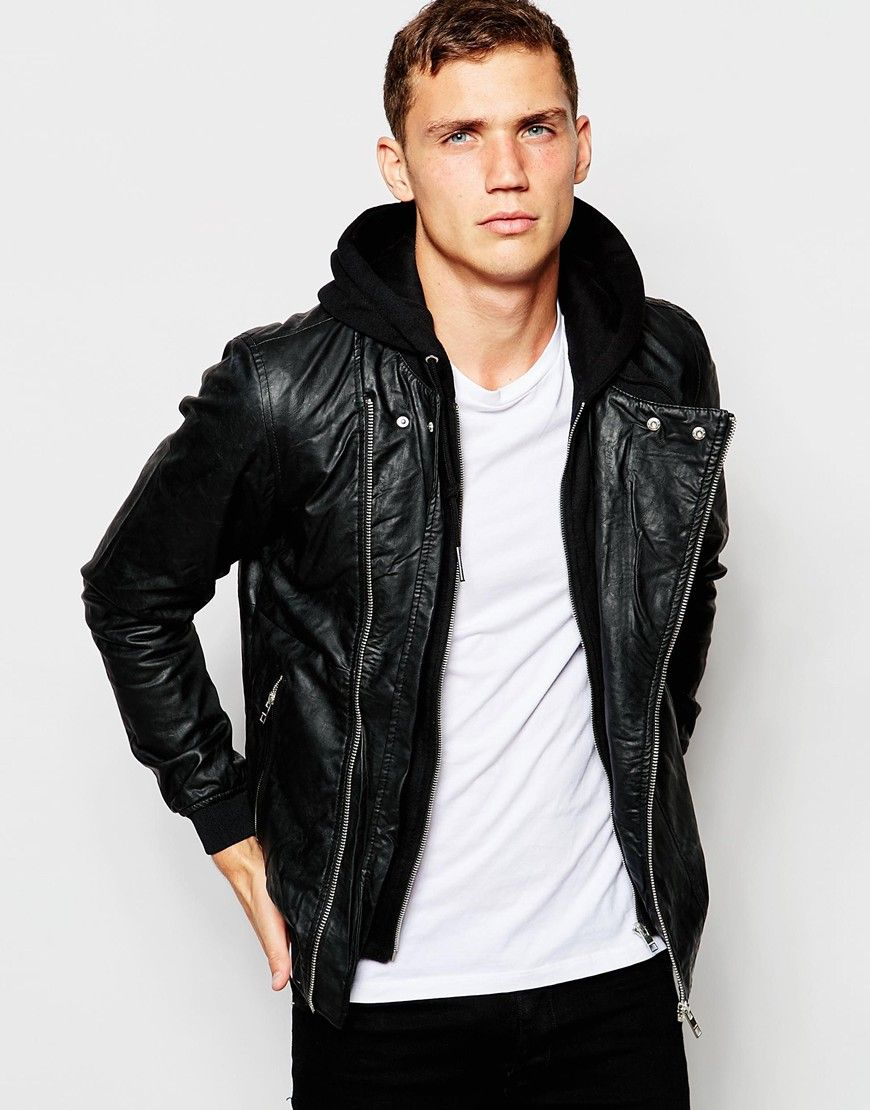 Leather jacket xl size - Image 1 Of Pull Bear Hooded Faux Leather Jacket