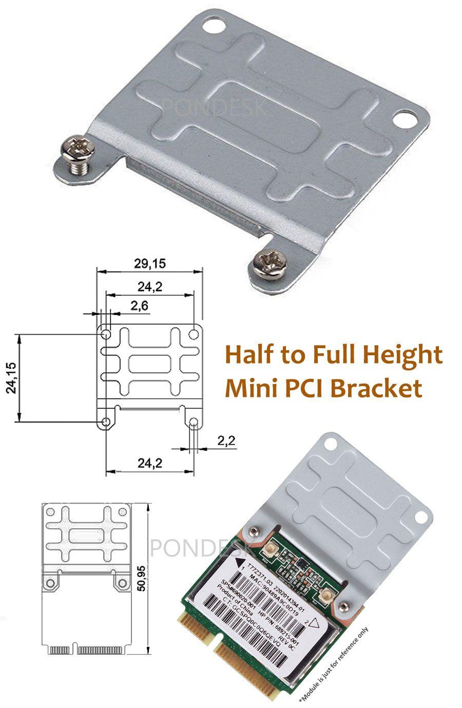 10Pcs Wireless Wifi Mini PCI-E Half To Full Size Card Bracket`US