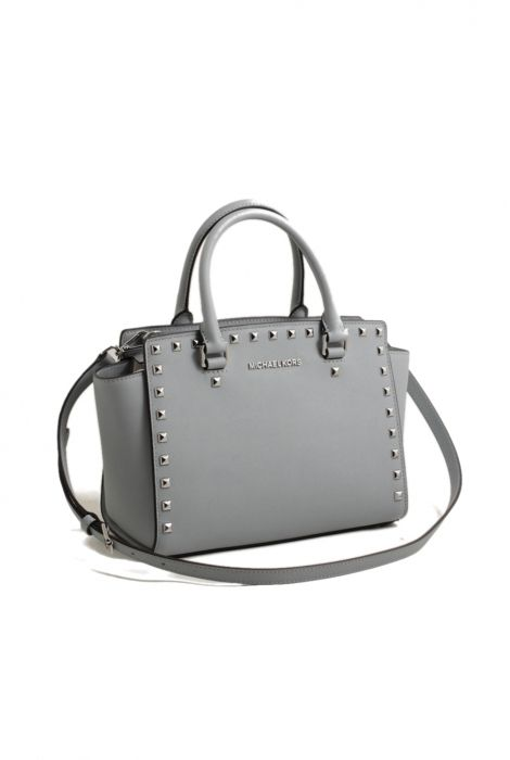 Michael Kors selma stud dusty blue medium satchel bag shop online