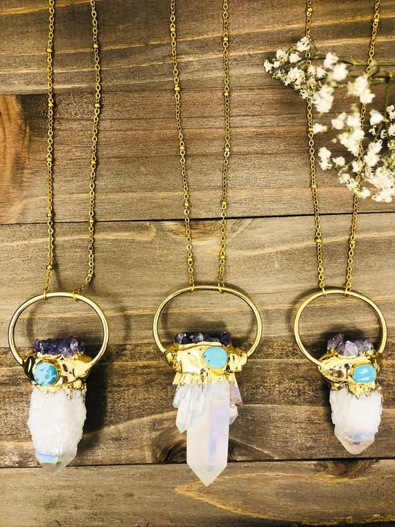 ANGEL AURA QUARTZ Necklace • Amethyst Cluster • Crystal Pendant • Chakra Necklace • Gold Necklace • #quartznecklace