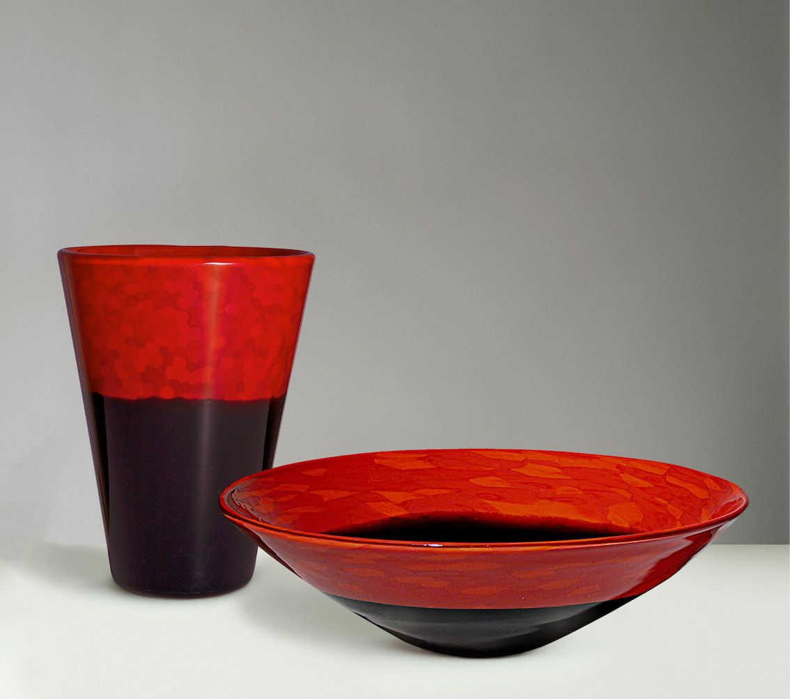 Venetian glass by carlo scarpa the venini company 1932 1947 an intensely hued and truncated cone shaped red and black lacquered glass vase circa is shown with a red and black lacquered glass bo reviewsmspy