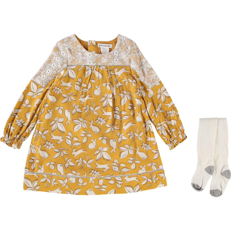 Artisan NY Mustard Rabbit Print Dress & Leggings  Dresses with