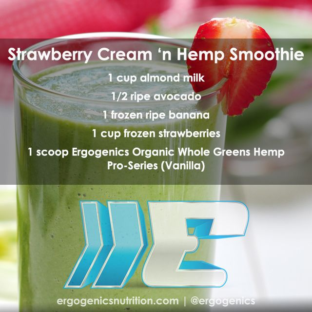 A rich and creamy smoothie to start your day... Strawberry Cream 'n Hemp!   #hemp #hempprotein #greensmoothie #smoothie #vegan #plantbased